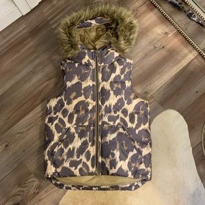 Coach leopard / cheetah puffer vest
